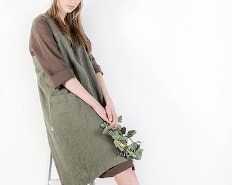 Linen pinafore apron, linen tunic,  linen cross back apron, Japanese style apron, linen top, large apron, linen apron dress, oversized top