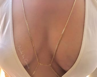 15% off sale, Body Chain, body jewelry, bikini body jewelry, gold body chain, bralette chain, harness body chain, festival body chain