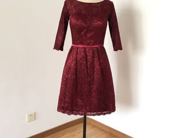 Scoop Burgundy Lace Short Bridesmaid Dress 2017 with 3/4 Sleeves