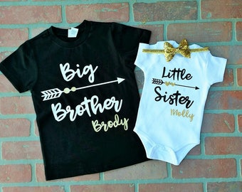 Personalized Big Brother/ Little Sister Shirt Onesie Headband set. Matching Big Brother Little Sister. Matching Sibling Set. Sibling Shirts