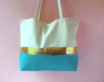 Beach bag light blue- long straps