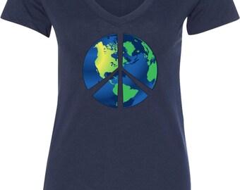 Ladies Peace Shirt Blue Earth V-Neck Shirt BLUEEARTH-N1540