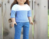 Blue and White Striped Shirt w/ Three-Quarter Sleeves for American Girl Dolls