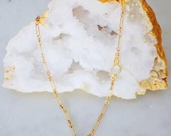 Dainty pavé boat necklace