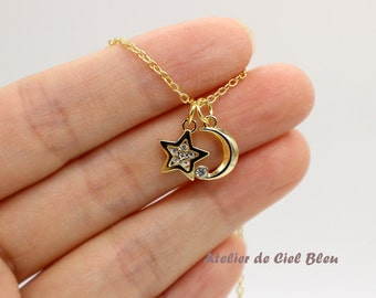 Moon Star Necklace, Crescent Moon Star Necklace, Pave Moon Star Necklace, Rhinestone Moon Star Necklace, Moon Star Jewelry, Gold Moon Star