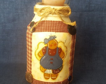 Handpainted Gingerbread Jar,Painted Jar, Candle HolderJar, Christmas Decor, Kitchen Decor