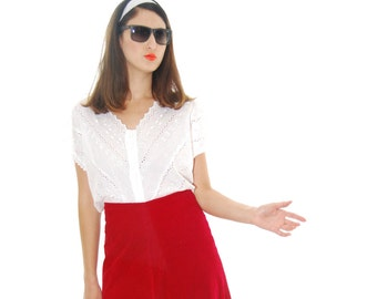 Red Textured Vintage Skirt For Women 1960s. Womens Skirts. Skirts. Red Skirt. 60s. Vintage Skirt