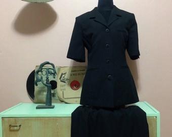 Black Vintage Suit. Black Suit. Vintage Clothing. Vintage Black Suit  For Women 1980s.Black Women Dress. Suits. 80s Size L. Free Shipping