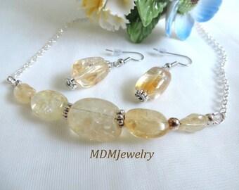 Citrine Necklace with Matching Earrings / Yellow Gemstone Jewellery / Lucky Money stone / Yellow Quartz /Simple Minimalist / JS-617
