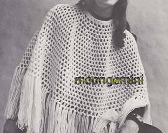 Crochet Poncho EZ Deep Fringed Fishnet PDF Pattern Vintage 60s Hippie Girl Retro Fashion