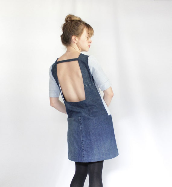 Refashoned Denim Dress with Open Back, Color Blocked Shift Dress With pockets, Upcycled Denim, Eco Conscious Fashion Under 100 for Women