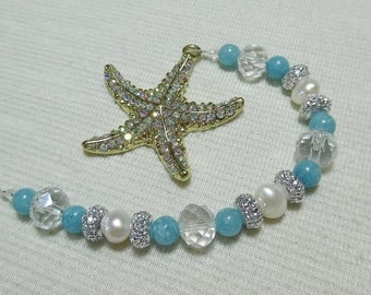 Rear View Mirror Charm, Aquamarine Starfish Car Charm, Beachy Car Charm, Pearl & Aquamarine, Gift for Her, Boho Decor, Beachy Decor