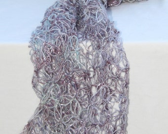 Amethyst & silver crochet evening scarf.  Ladies sparkle party scarf.  Glitter scarf.  Lovers knot crochet.  Lacy wool scarf.  Ideal gift.