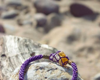 Joyful macrame bracelet for beloved ones with citrine for  good fortune and good luck