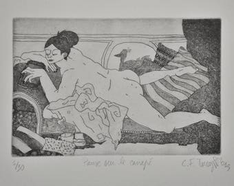 "ETCHING / INTAGLIO / PRINT / Collection ""BigNana"" / Pause on the couch by CFTurcas"