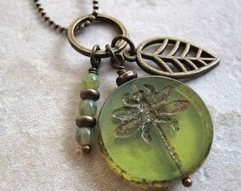 Dragonfly bead, Green Dragonfly, Table cut bead, etched dragonfly, bronze ball chain, charm necklace, bronze leaf charm, nature jewelry