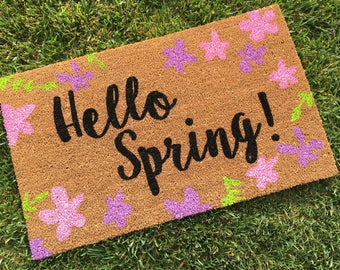 Easter decor etsy hello spring doormat hand painted custom welcome mat housewarming gift unique negle Choice Image