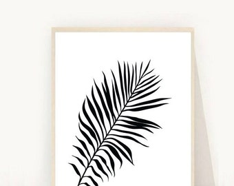 Palm Leaf Print, Tropical Leaf Print, Printable Art, Palm Art Print,  Minimalist Art, Scandinavian, Instant Download, Wall Decor