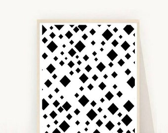 Black And White Print, Printable Art, Geometric Art , Scandinavian Print, Diamond Print,  Wall Art, Home Decor, Instant download, Wall decor