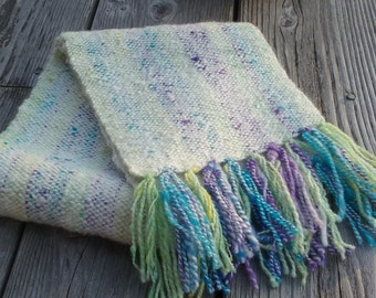 Mardi Gras Alpaca and Wool Handwoven Scarf