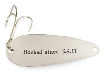 mens gift ideas, fishing gifts, 6th Anniversary Gift, 6 year anniversary, Hooked since 2011, Fishing Lure, Spoontracker