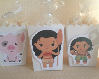 Moana Party Popcorn or Favor Boxes - Set of 10