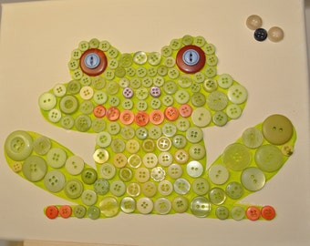 Button Art for Kids - Green Frog