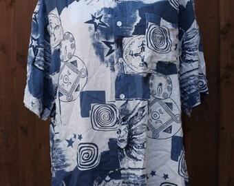 90s Oversized Blue & Black Print Short Sleeved Shirt