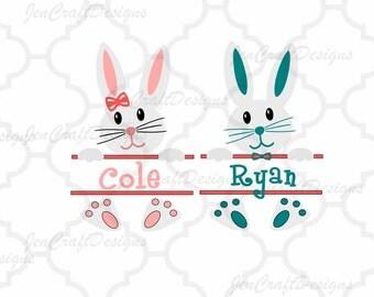 Easter Bunny SVG,Circle monogram frames svg, Easter Bunny Monogramsvg, Monogram split Frames Svg Dxf Eps Silhouette Cricut