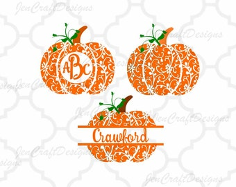 Fall Pumpkin SVG, DXF, EPS,Png, Pdf circle monogram Frame cutting files. Floral pattern, for Silhouette  and Cricut. Halloween Thanksgiving