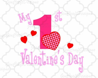 My First Valentine's Day SVG, 1st valentines day SVG Eps Png Dxf,  Valentine Cricut DS Silhouette Studio, Digital Cut Files Instant Download