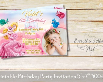 Sleeping beauty invitation, Princess Aurora invitation, Aurora birthday, Sleeping beauty birthday invitation,Printable invitation with photo