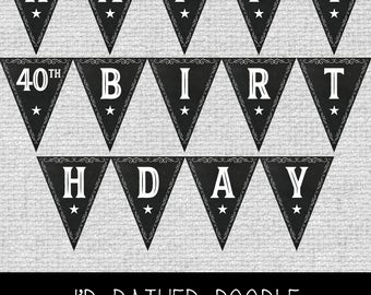 40th Birthday Banner Etsy