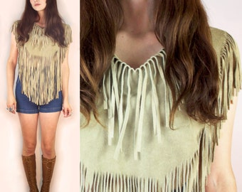 SALE~Far Out Fringe 60s Tan Suede Woodstock Biker Crop Top Cape