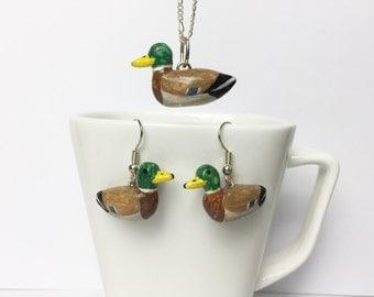Mallard set of earrings and pendant (Anas platyrhynchos)