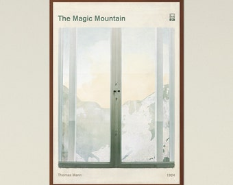 The Magic Mountain, Thomas Mann - Literary Book Cover Poster Large, Literature Art, Literary Gift, Bookworm, Bibliophile, Instant Download