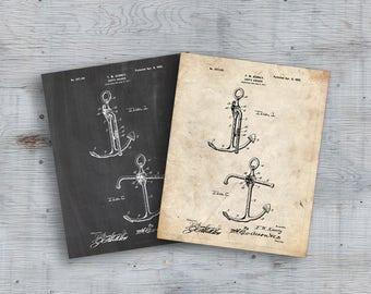 Anchor Patent Print, Anchor Design, Yachting, Sailing Ship Art, Vintage Anchor, Single Print, Ship Art, Nautical Print, INSTANT DOWNLOAD