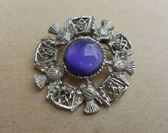 Vintage 1970s Scottish Celtic Silver Tone Wreath Circular Purple Cabochon Thistle Brooch Pin