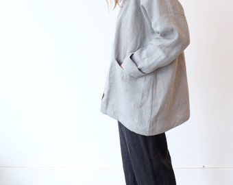 Gray Linen Jacket. Kimono Linen Jacket.