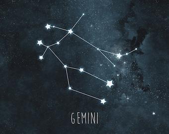 Gemini Constellation Art Print, Stars Decor, Night Sky Wall Art, Astrology Print, Watercolor Zodiac Print