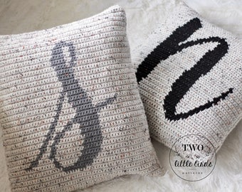 Crochet Pattern, BRIXTON MONOGRAM PILLOW, Crochet Pillow Pattern, Monogram Pillow, Crochet Throw Pillow, Personalized, Customizable