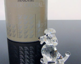 Vintage Boxed 1994 Swarovski Crystal Silver SITTING French POODLE Dog FIGURINE  - Like New In Swarovski Box!