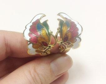 Vintage, butterfly earrings in cloisonné enamel, 1980s. Vintage clip on earrings.