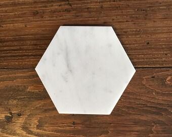 Hexagon Coasters in White Marble, Geometric Design, White Carrara