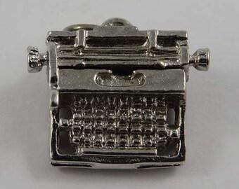 Typewriter Mechanical Sterling Silver Vintage Charm For Bracelet