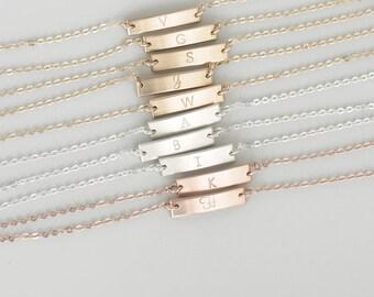 Initial Bar Bracelet, Dainty, Stacking Bracelet, Minimal Bracelet,  Bar Bracelet Personalized,Skinny Bar Bracelet,Gold,Silver,Rose Gold/B114