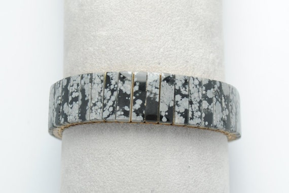 Obsidian bracelet - extensible bracelet - vintage bracelet - unisex bracelet