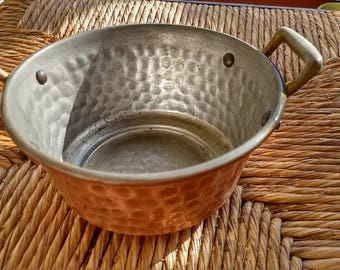 Old Italian Copper Pot -  Brass handles