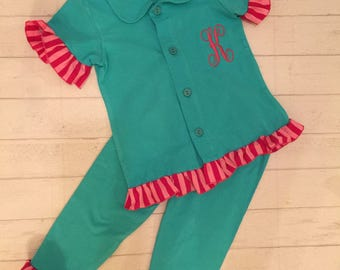 SALE SUMMER BLOWOUT! Toddler girls Monogrammed pajamas, girls boutique ruffled pajamas in teal with pink trim ,