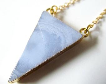 Chalcedony Necklace - Pale Blue Stone Pendant - Gold Plated Geometric Gem - Gemstone Jewelry - Boho Jewelry - Gold Plated Chain - Gem Jewels